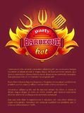 Party Barbeque Grill Leaflet Tools Fork and Paddle. Party barbeque grill leaflet tools for grilling, fork and paddle, spatula and flame sparkles. Vector poster royalty free illustration