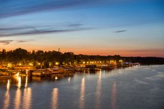 Party barges splavs, Sava river, Belgrade Royalty Free Stock Photo