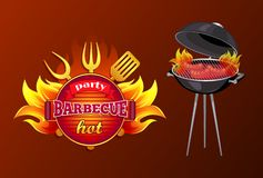 Party BBQ Barbecue Hot Poster Vector Illustration. Party BBQ barbecue poster with text and mangal. Brazier with roasting sausages frankfurter. Icon of frying pan vector illustration