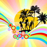 Party on a beach. Background with palm trees and dancing girls Stock Photography