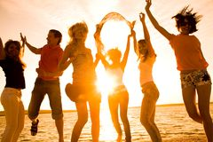 Party on beach royalty free stock image
