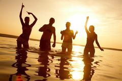 Party on beach Stock Images