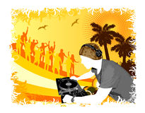 Party beach. Party at the beach with DJ stock illustration