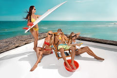 Party on beach. Surfer party stay on beach Stock Image