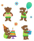Party Bear. Set of four cute bears with balloon, accordion, cake and a gift box. Eps10 Royalty Free Stock Image