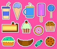 Party big set with different sweets - cake, ice cream, donuts, cupcakes, chocolate bar, candies. Flat design Vector Royalty Free Stock Image
