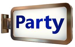 Party on billboard background. Party wall light box billboard background , isolated on white Royalty Free Stock Photo