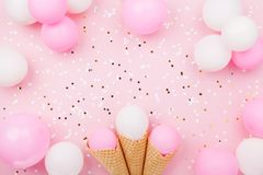 Party or birthday background with pastel balloons and confetti top view. Flat lay style. Party or birthday background with pastel balloons and confetti top view Stock Images