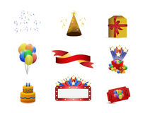 Party or birthday concept icon set illustration. Design over white Royalty Free Stock Images