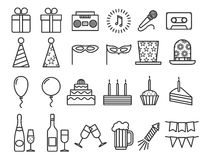Party birthday holidays icons thin line vector outline icon set Stock Image