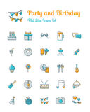 Party and birthday icons set flat line style vector illustration