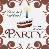 Party birthday invitation. Birthday party invitation with illustration of a chocolate cake and candle Stock Photography