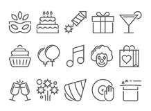 Party and birthday line icon. Party and birthday vector line icon set Royalty Free Stock Photography