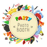 Party Birthday photo booth props. Hat and mask, costume with cylinder, bunny ears nose moustache. Party Birthday photo booth props. Hat and mask, costume and Stock Photo