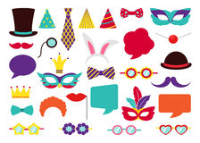 Party Birthday photo booth props. Vector Stock Images