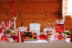 Party decorations on table in baptism Stock Photos