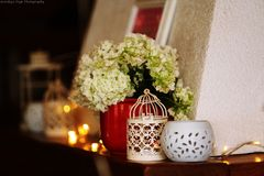 Party decorations. Party birthday table food dishes decorations candle candleholders cage stock photography
