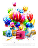 Party or birthday template. Luxury colorful balloons, confetti and gift boxes isolated on white background Stock Image
