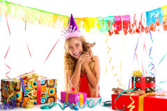 Party blond kid girl happy with puppy present Stock Images