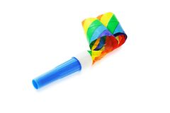Party blower. Colorful party blower isolated on white background royalty free stock photography