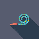Party blower. Icon. Flat vector related icon with long shadow for web and mobile applications. It can be used as - logo, pictogram, icon, infographic element stock illustration