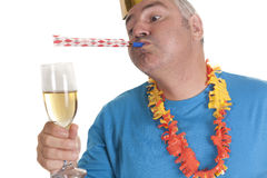 Party blower man Royalty Free Stock Photo
