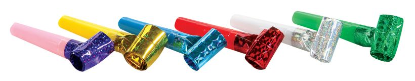 Party Blowers. Photo on the white background Stock Photography