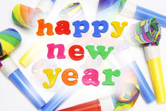 Party Blowers and Happy New Year Stock Image