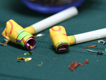 Party blowers macro Royalty Free Stock Image