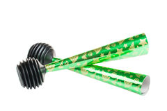 Party Blowers on white background. Two Party Blowers on white background Stock Photos