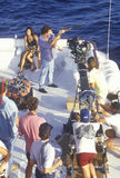 Party on boat scene from set of 'Temptation. ', feature film, Miami, FL Stock Images