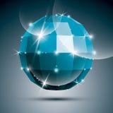 Party a bola lustrosa azul do espelho 3D criada das figuras geométricas Fotografia de Stock Royalty Free