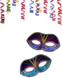 Party border. Party frame ,mask and confettie isolated on white background as copy-space Royalty Free Stock Photo