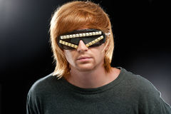 Party boy in club glasses royalty free stock photography