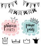 Party Bridal公主阵雨卡片设计 生日女孩字法行情印刷术 导航明信片的,海报,图表设计 库存图片