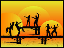 Party on the Bridge. Vector work Royalty Free Stock Photos