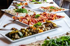 Free Party Brunch Big Buffet Table Setting With Food Meat Vegetables Stock Photo - 124308830