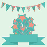 Party bunting background with stars and banner. Vector illustration of Party bunting background with stars and banner Royalty Free Stock Images