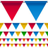 Party Bunting Flags Border. Collection of colorful party bunting flags border, isolated on white background. Eps file available Stock Photos