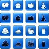 Party buttons. Collection of blue square party rollover buttons Royalty Free Stock Image