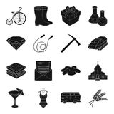 Party, cafe, jewelry, fitness and other web icon in black style. Royalty Free Stock Photos