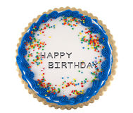 Party cake 7. Colorful happy birthday party cake with confetti and blue decorative icing Stock Photos