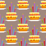 Party cake celebration happy birthday surprise decoration seamless pattern event anniversary vector Royalty Free Stock Images