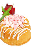 Party cake decorated with hearts and a rose Royalty Free Stock Photography