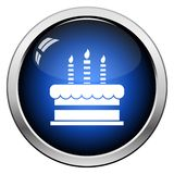 Party Cake Icon. Glossy Button Design. Vector Illustration royalty free illustration