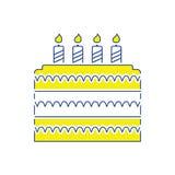 Party cake icon. Thin line design. Vector illustration stock illustration