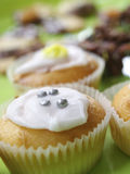 Party cakes. Homemade party cupcakes on green plate Royalty Free Stock Image
