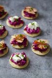 Blinis with creamy beetroot, goat cheese and hot smoked salmon. Party canapes of blinis with creamy beetroot, goat cheese and hot smoked salmon Royalty Free Stock Photo