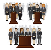 Party candidate leader and crowd. Vector flat illustration of a party candidate or leader and electorate crowd vector illustration