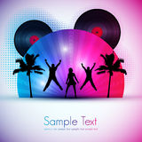Party Card. Summer Party with Young People - Editable Vector Design Stock Photo